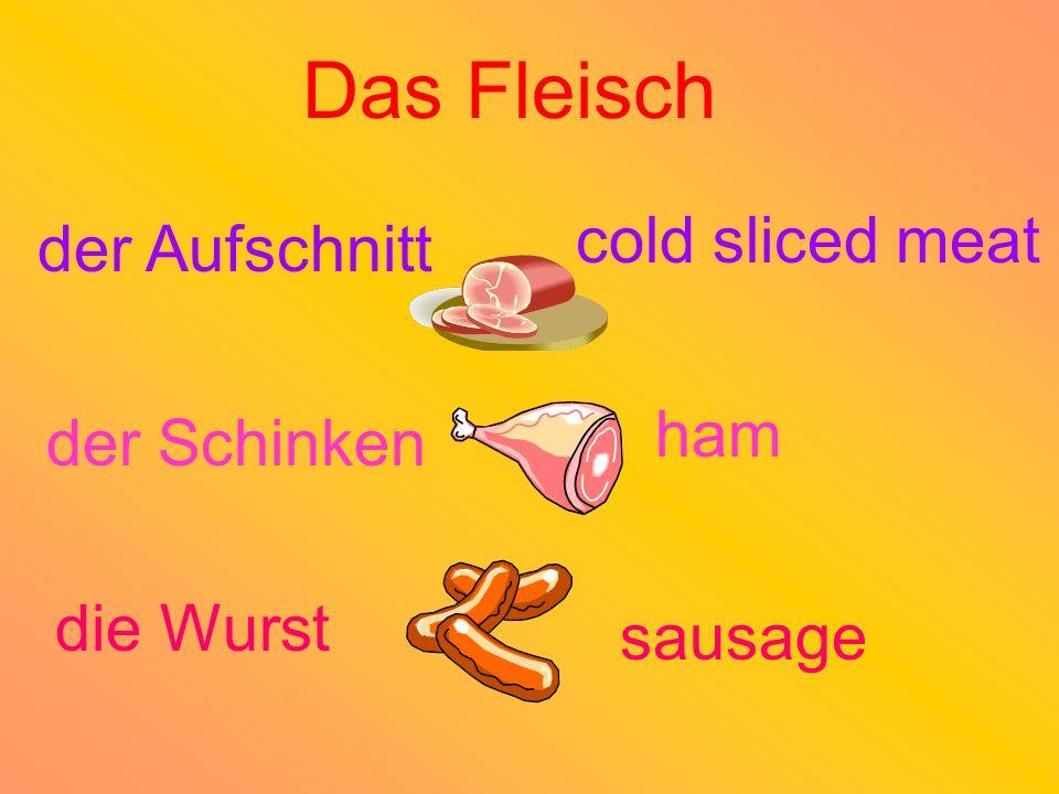 der Aufschnitt der Schinken die Wurst cold sliced meat ham sausage Das Fleisch