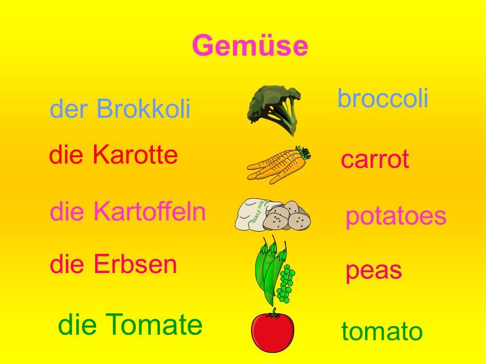 Gemüse die Karotte carrot die Kartoffeln potatoes die Erbsen peas der Brokkoli broccoli die Tomate tomato