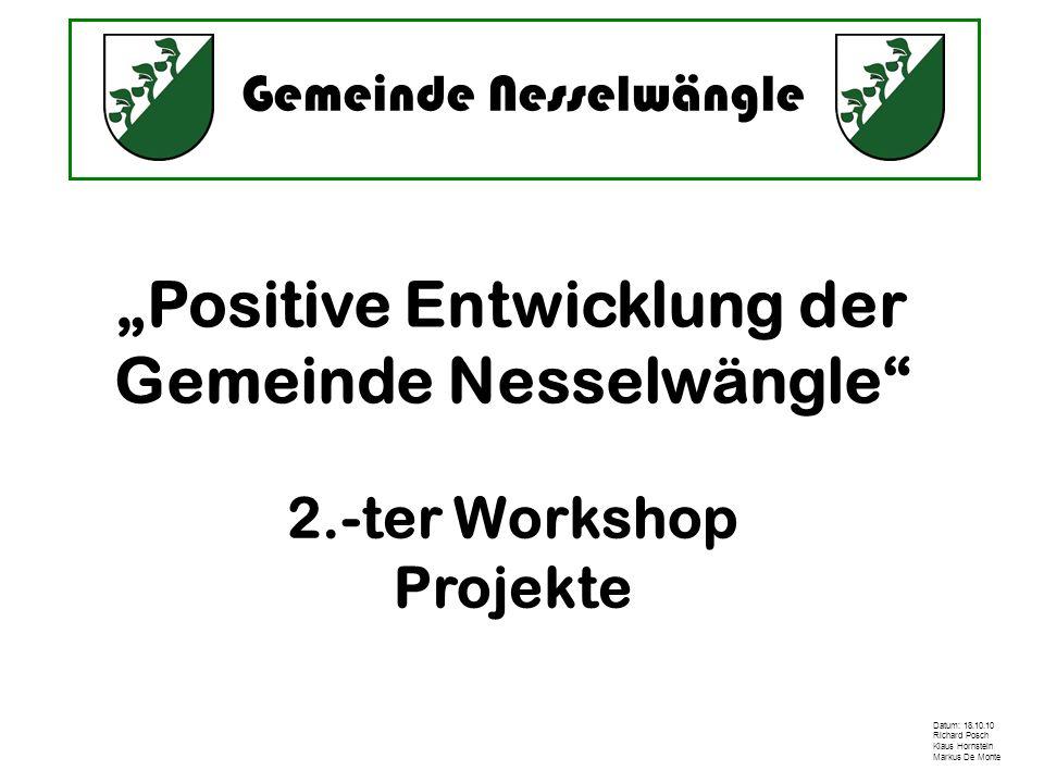 Gemeinde Nesselwängle Datum: 18.10.10 Richard Posch Klaus Hornstein Markus De Monte Positive Entwicklung der Gemeinde Nesselwängle 2.-ter Workshop Pro