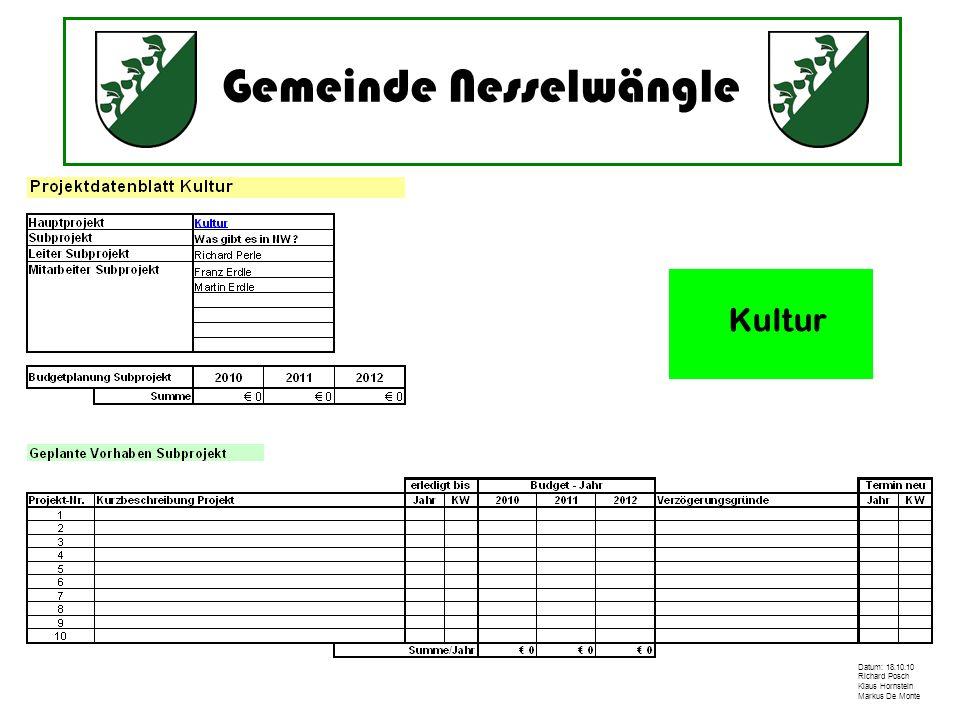 Gemeinde Nesselwängle Datum: 18.10.10 Richard Posch Klaus Hornstein Markus De Monte Kultur