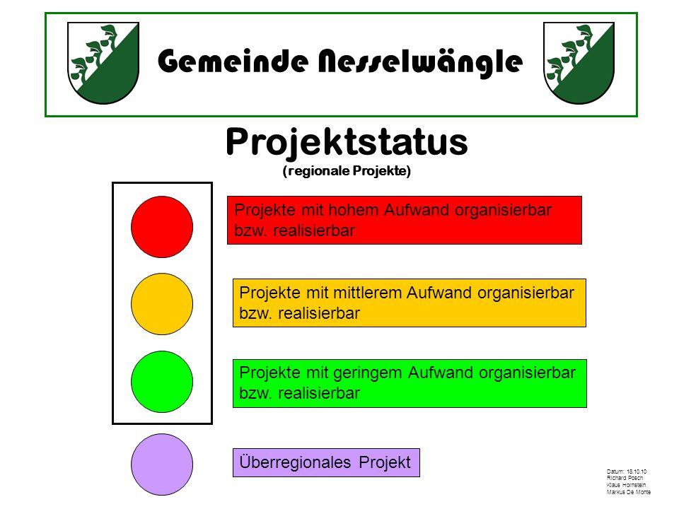 Gemeinde Nesselwängle Datum: 18.10.10 Richard Posch Klaus Hornstein Markus De Monte Projektstatus (regionale Projekte) Projekte mit hohem Aufwand orga