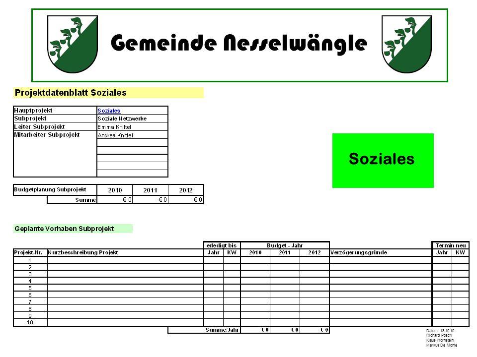Gemeinde Nesselwängle Datum: 18.10.10 Richard Posch Klaus Hornstein Markus De Monte Soziales
