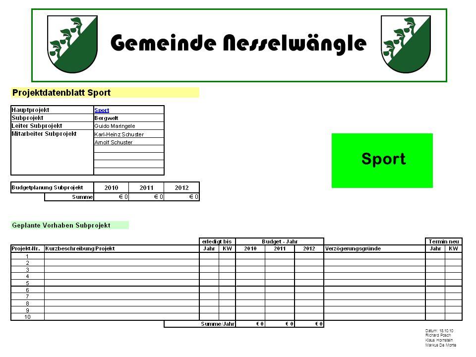 Gemeinde Nesselwängle Datum: 18.10.10 Richard Posch Klaus Hornstein Markus De Monte Sport