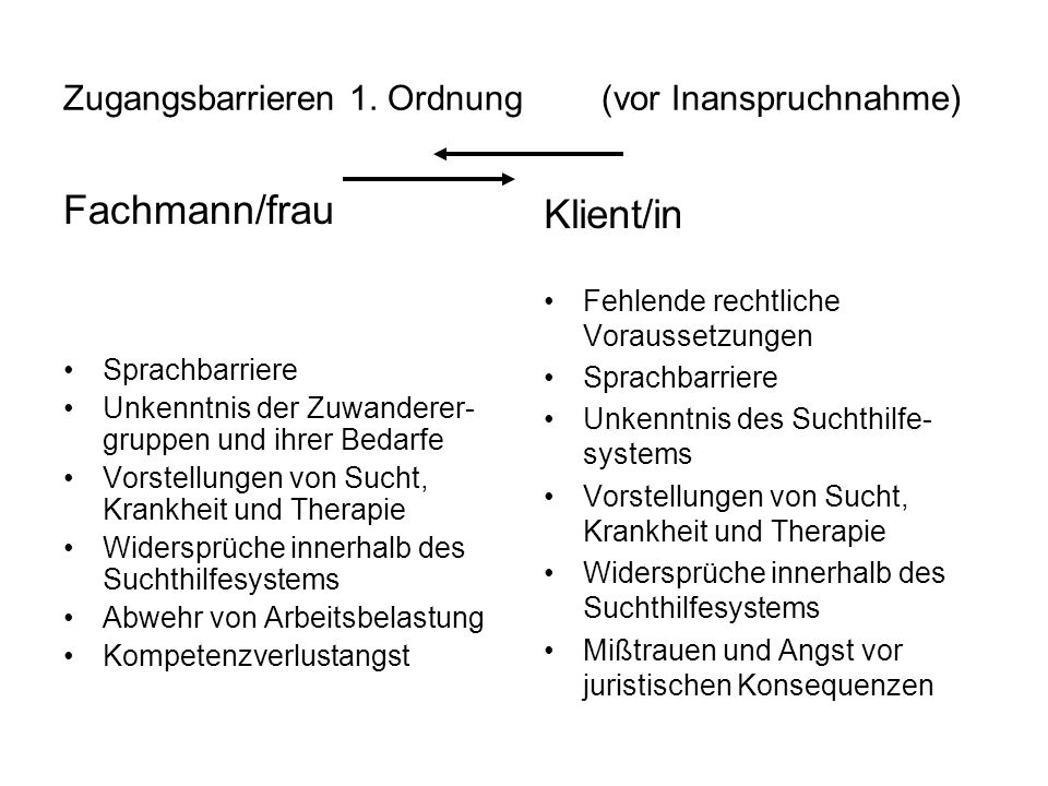 Zugangsbarrieren 1. Ordnung (vor Inanspruchnahme) Fachmann/frau Sprachbarriere Unkenntnis der Zuwanderer- gruppen und ihrer Bedarfe Vorstellungen von