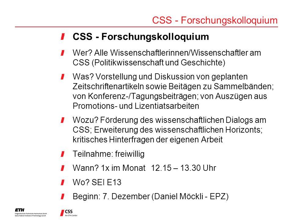 CSS - Forschungskolloquium Wer.