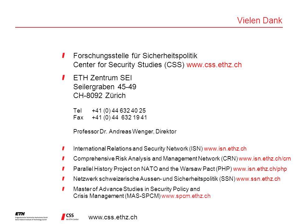 www.css.ethz.ch Vielen Dank Forschungsstelle für Sicherheitspolitik Center for Security Studies (CSS) www.css.ethz.ch ETH Zentrum SEI Seilergraben 45-49 CH-8092 Zürich Tel+41 (0) 44 632 40 25 Fax+41 (0) 44 632 19 41 Professor Dr.