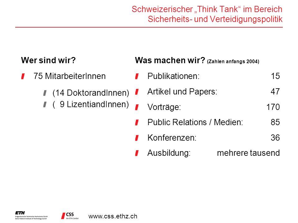 www.css.ethz.ch Schweizerischer Think Tank im Bereich Sicherheits- und Verteidigungspolitik Wer sind wir? 75 MitarbeiterInnen (14 DoktorandInnen) ( 9