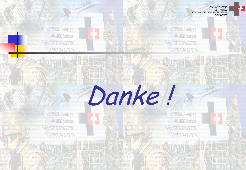 PLANUNGSSTAB DER ARMEE ETAT-MAJOR DE PLANIFICATION DE L'ARMEE Danke !
