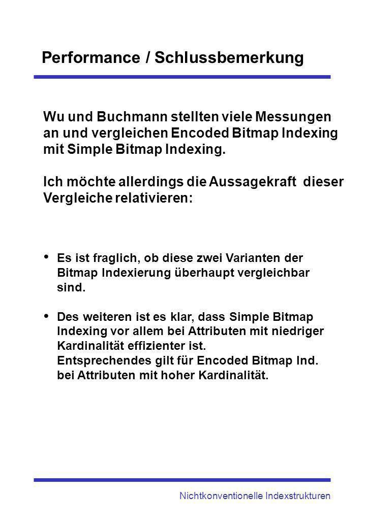 Performance / Schlussbemerkung Nichtkonventionelle Indexstrukturen Wu und Buchmann stellten viele Messungen an und vergleichen Encoded Bitmap Indexing
