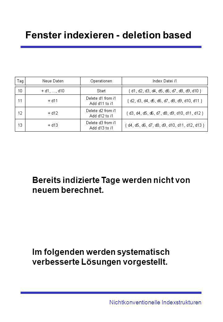 Fenster indexieren - deletion based Nichtkonventionelle Indexstrukturen Bereits indizierte Tage werden nicht von neuem berechnet. Im folgenden werden