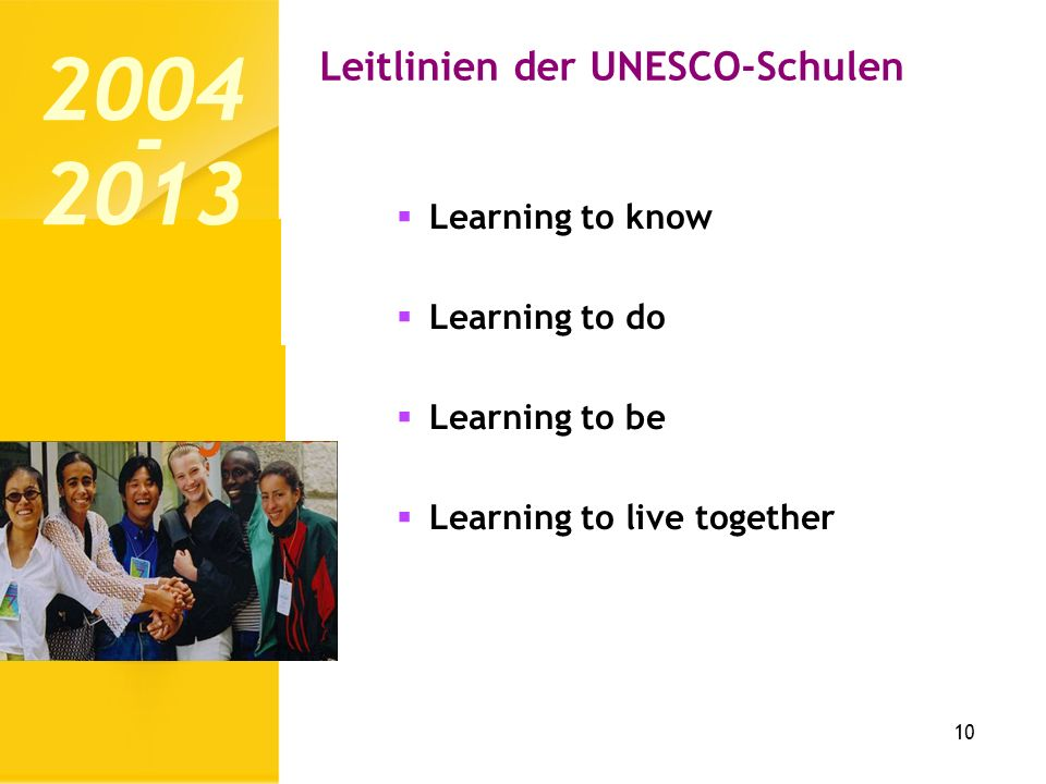 Leitlinien der UNESCO-Schulen 10 Learning to know Learning to do Learning to be Learning to live together 2004 2013 -