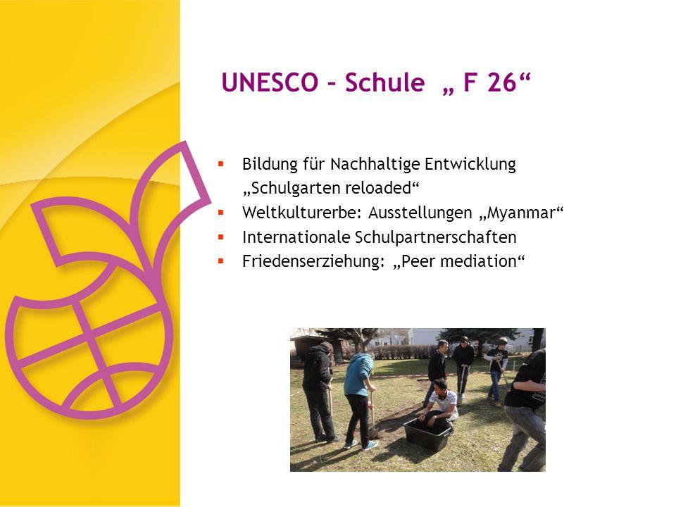 UNESCO – Schule F 26 Bildung für Nachhaltige Entwicklung Schulgarten reloaded Weltkulturerbe: Ausstellungen Myanmar Internationale Schulpartnerschaften Friedenserziehung: Peer mediation
