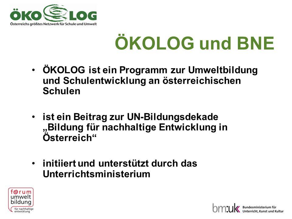 ÖKOLOG und BNE ÖKOLOG ist ein Programm zur Umweltbildung und Schulentwicklung an österreichischen Schulen ist ein Beitrag zur UN-Bildungsdekade Bildung für nachhaltige Entwicklung in Österreich initiiert und unterstützt durch das Unterrichtsministerium