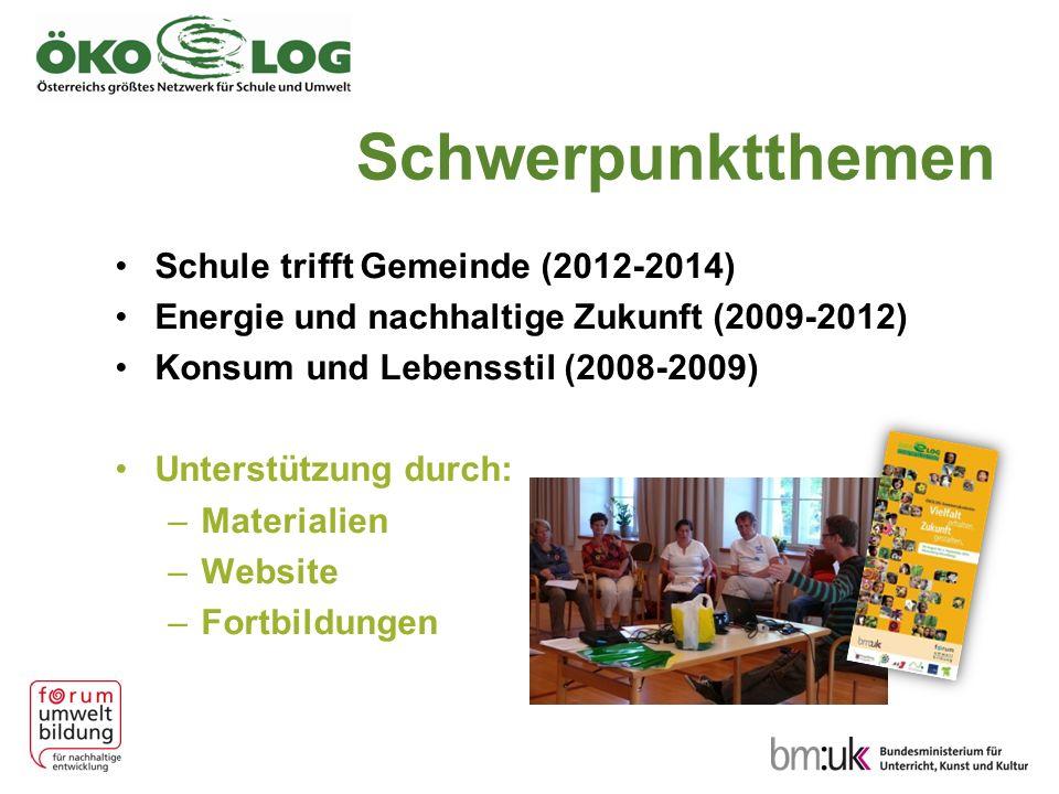 Schwerpunktthemen Schule trifft Gemeinde (2012-2014) Energie und nachhaltige Zukunft (2009-2012) Konsum und Lebensstil (2008-2009) Unterstützung durch: –Materialien –Website –Fortbildungen