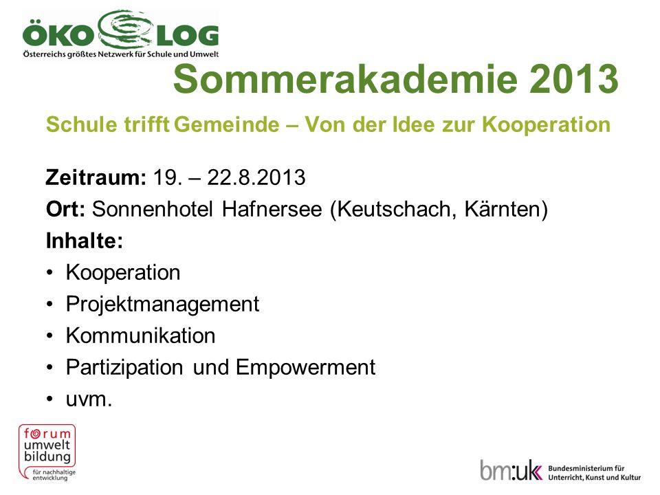Sommerakademie 2013 Schule trifft Gemeinde – Von der Idee zur Kooperation Zeitraum: 19.