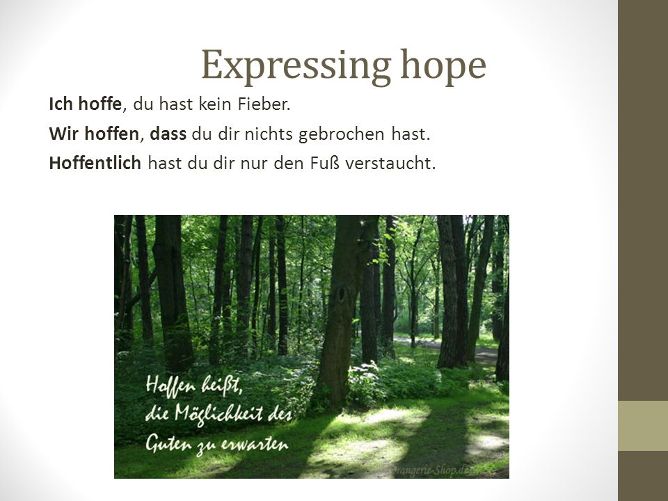 Expressing hope Ich hoffe, du hast kein Fieber. Wir hoffen, dass du dir nichts gebrochen hast. Hoffentlich hast du dir nur den Fuß verstaucht.