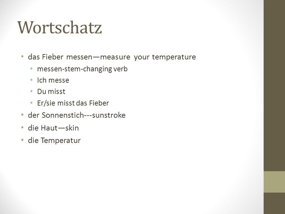 Wortschatz das Fieber messenmeasure your temperature messen-stem-changing verb Ich messe Du misst Er/sie misst das Fieber der Sonnenstich---sunstroke die Hautskin die Temperatur