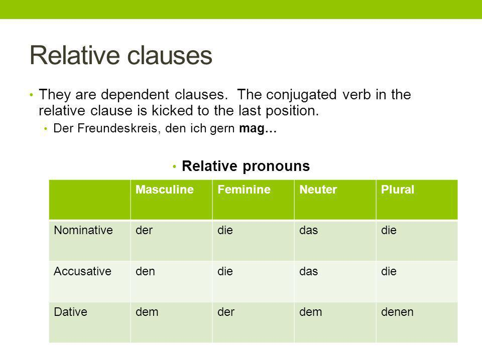 Relative clauses They are dependent clauses.