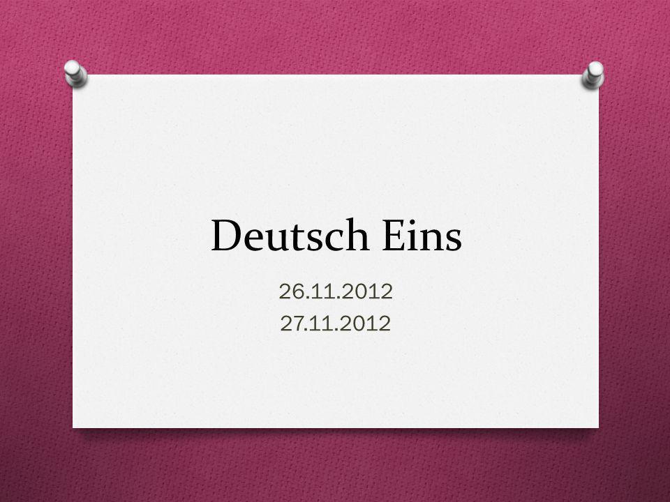 Deutsch Eins 26.11.2012 27.11.2012