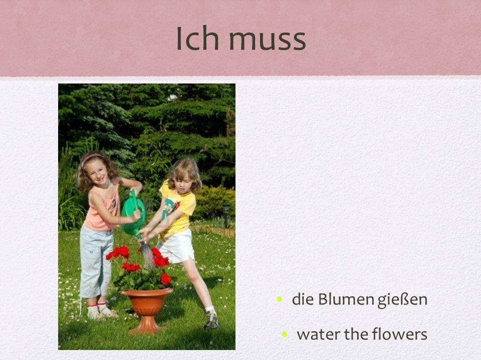 Ich muss die Blumen gießen water the flowers