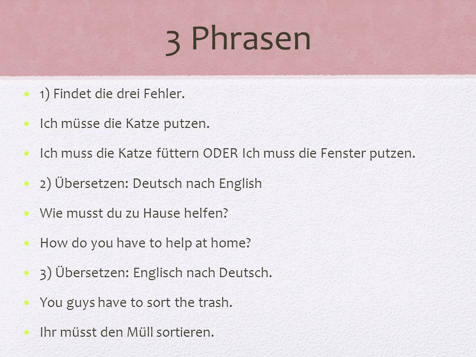 3 Phrasen 1) Findet die drei Fehler.Ich müsse die Katze putzen.