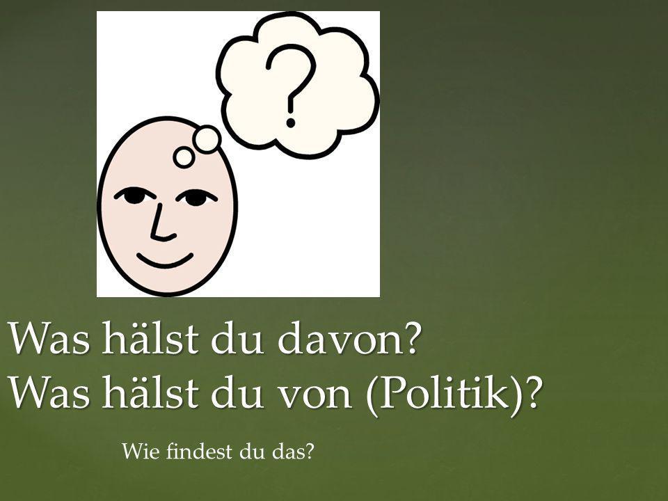 Was hälst du davon? Was hälst du von (Politik)? Wie findest du das?