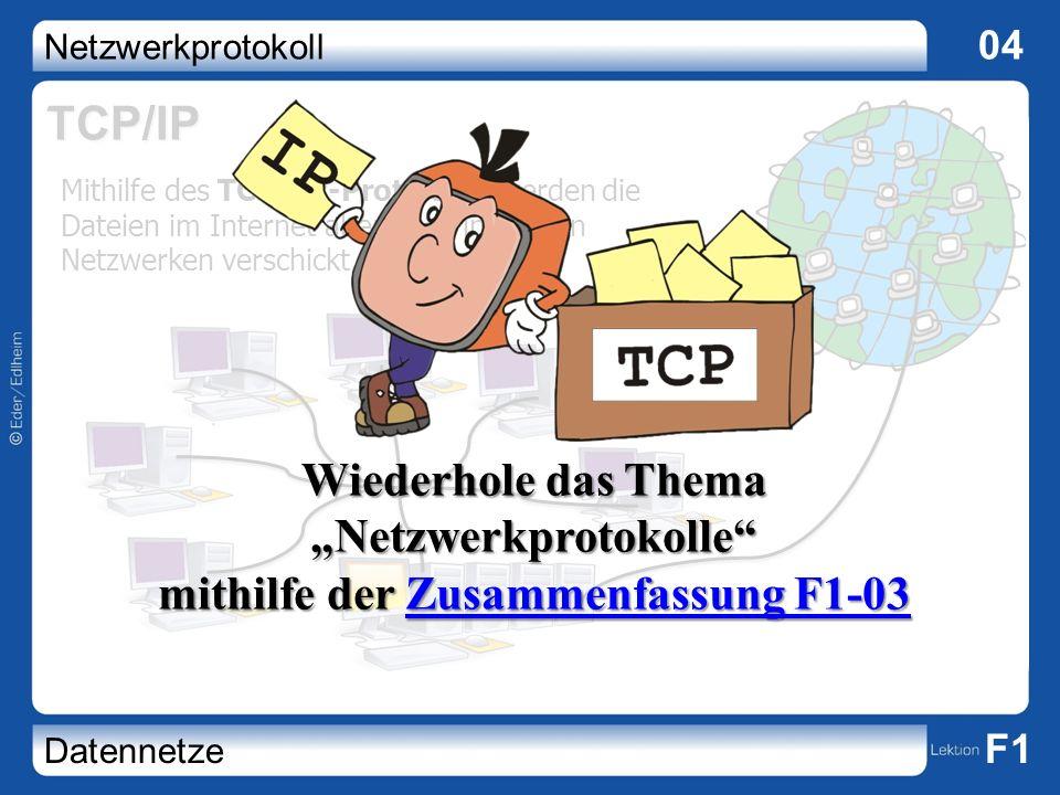 Netzwerkprotokoll 04 Datennetze F1 TCP/IP Mithilfe des TCP/IP-Protokolls werden die Dateien im Internet aber auch in lokalen Netzwerken verschickt. Wi