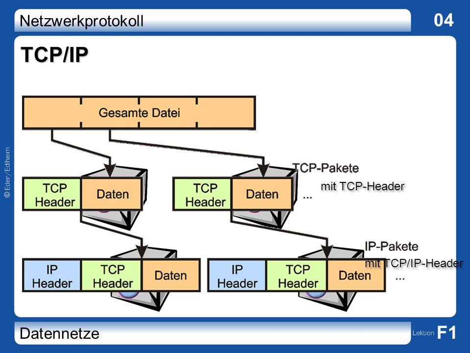 Netzwerkprotokoll 04 Datennetze F1 TCP/IP 12 12 12 mit TCP-Header mit TCP/IP-Header
