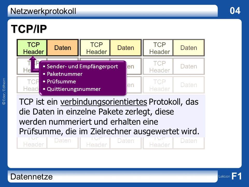 Netzwerkprotokoll 04 Datennetze F1 TCP/IP TCP ist ein verbindungsorientiertes Protokoll, das die Daten in einzelne Pakete zerlegt, diese werden nummer