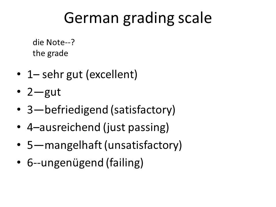 German grading scale 1– sehr gut (excellent) 2gut 3befriedigend (satisfactory) 4–ausreichend (just passing) 5mangelhaft (unsatisfactory) 6--ungenügend (failing) die Note--.