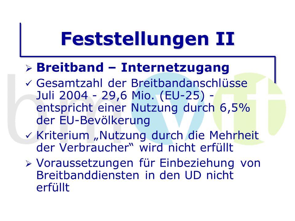 Feststellungen II Breitband – Internetzugang Gesamtzahl der Breitbandanschlüsse Juli 2004 - 29,6 Mio.