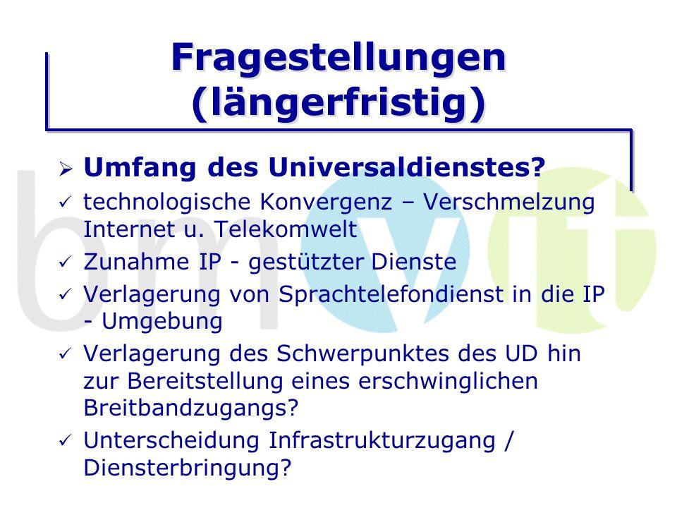 Fragestellungen (längerfristig) Umfang des Universaldienstes.