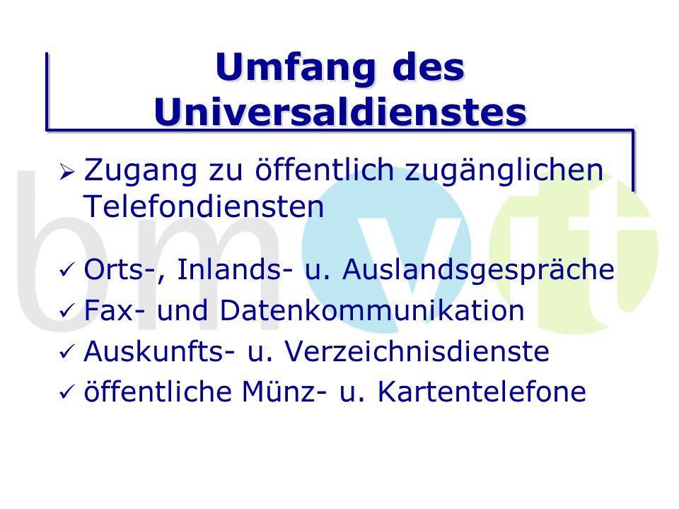 Umfang des Universaldienstes Zugang zu öffentlich zugänglichen Telefondiensten Orts-, Inlands- u.