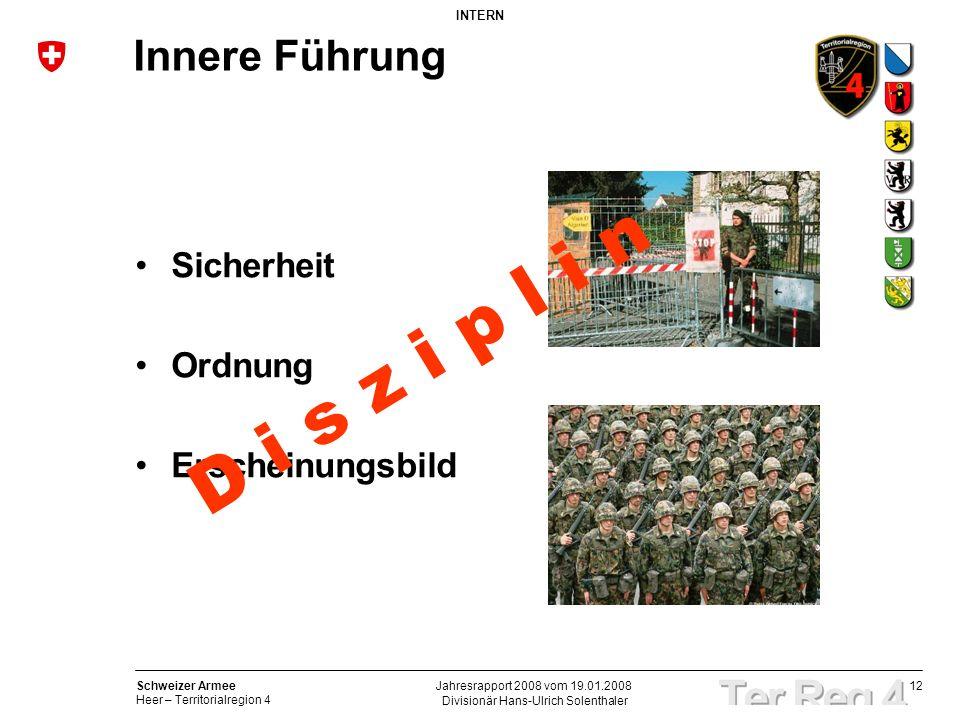 12 Schweizer Armee Heer – Territorialregion 4 INTERN Divisionär Hans-Ulrich Solenthaler Jahresrapport 2008 vom 19.01.2008 Innere Führung Sicherheit Or