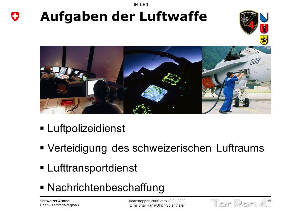 15 Schweizer Armee Heer – Territorialregion 4 INTERN Divisionär Hans-Ulrich Solenthaler Jahresrapport 2008 vom 19.01.2008 Aufgaben der Luftwaffe Luftp