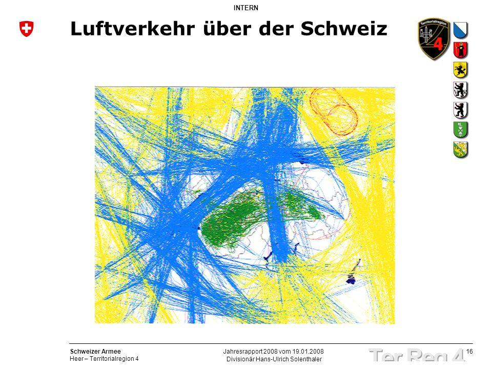 16 Schweizer Armee Heer – Territorialregion 4 INTERN Divisionär Hans-Ulrich Solenthaler Jahresrapport 2008 vom 19.01.2008 Luftverkehr über der Schweiz