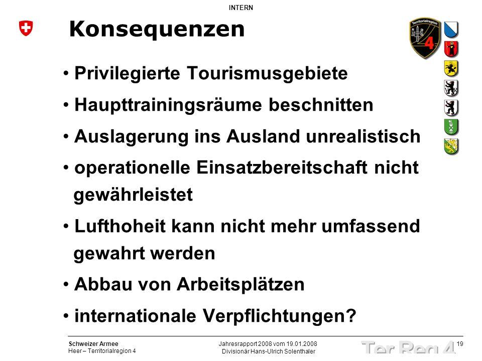 19 Schweizer Armee Heer – Territorialregion 4 INTERN Divisionär Hans-Ulrich Solenthaler Jahresrapport 2008 vom 19.01.2008 Konsequenzen Privilegierte T