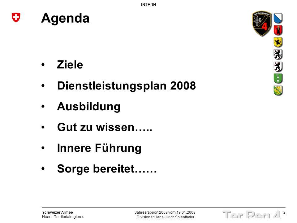 2 Schweizer Armee Heer – Territorialregion 4 INTERN Divisionär Hans-Ulrich Solenthaler Jahresrapport 2008 vom 19.01.2008 Agenda Ziele Dienstleistungsp