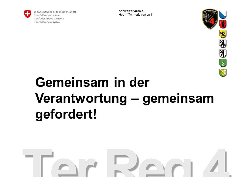 Schweizer Armee Heer – Territorialregion 4 Gemeinsam in der Verantwortung – gemeinsam gefordert!