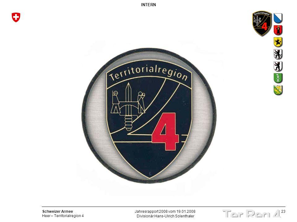 23 Schweizer Armee Heer – Territorialregion 4 INTERN Divisionär Hans-Ulrich Solenthaler Jahresrapport 2008 vom 19.01.2008