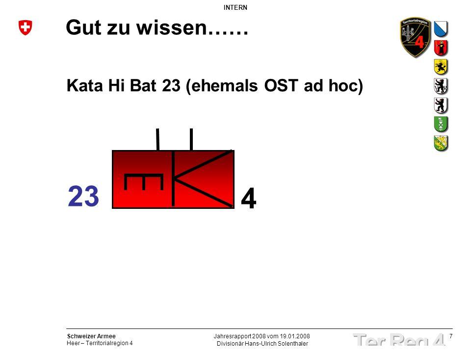7 Schweizer Armee Heer – Territorialregion 4 INTERN Divisionär Hans-Ulrich Solenthaler Jahresrapport 2008 vom 19.01.2008 Gut zu wissen…… Kata Hi Bat 2