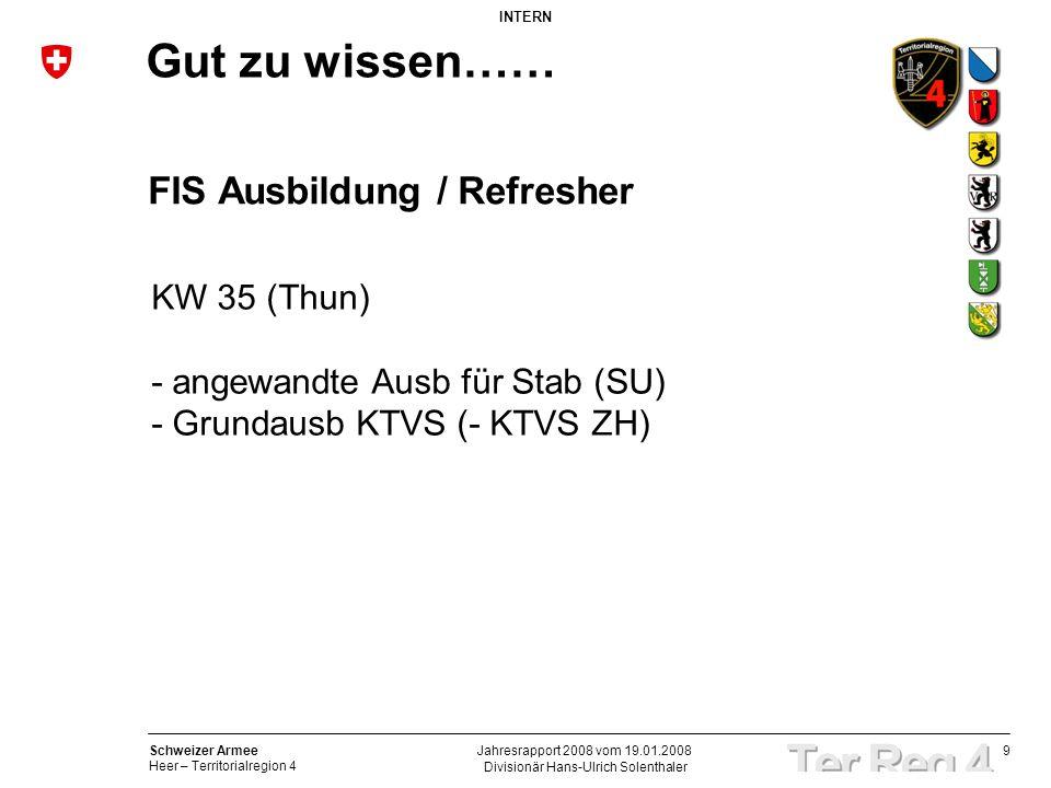 9 Schweizer Armee Heer – Territorialregion 4 INTERN Divisionär Hans-Ulrich Solenthaler Jahresrapport 2008 vom 19.01.2008 Gut zu wissen…… FIS Ausbildun