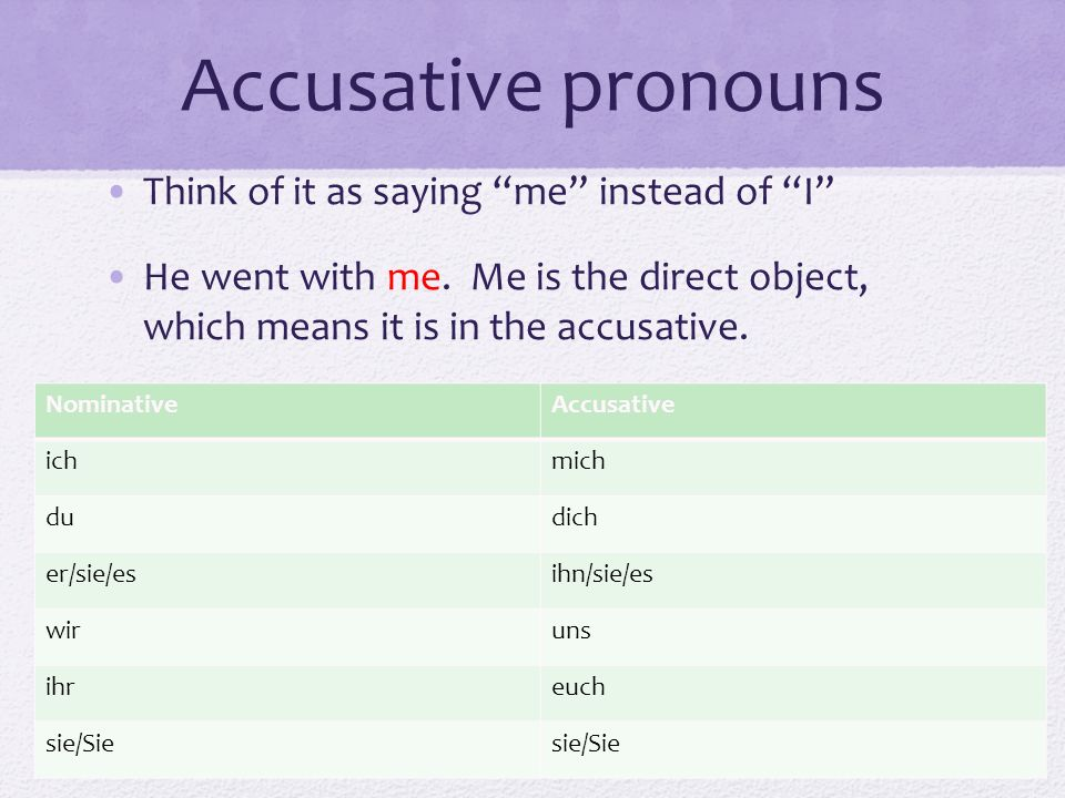 Accusative pronouns Think of it as saying me instead of I He went with me. Me is the direct object, which means it is in the accusative. NominativeAcc