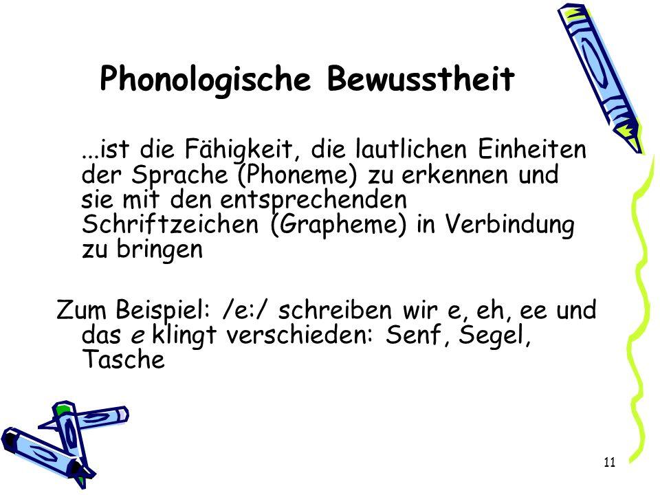11 Phonologische Bewusstheit...ist die Fähigkeit, die lautlichen Einheiten der Sprache (Phoneme) zu erkennen und sie mit den entsprechenden Schriftzeichen (Grapheme) in Verbindung zu bringen Zum Beispiel: /e:/ schreiben wir e, eh, ee und das e klingt verschieden: Senf, Segel, Tasche