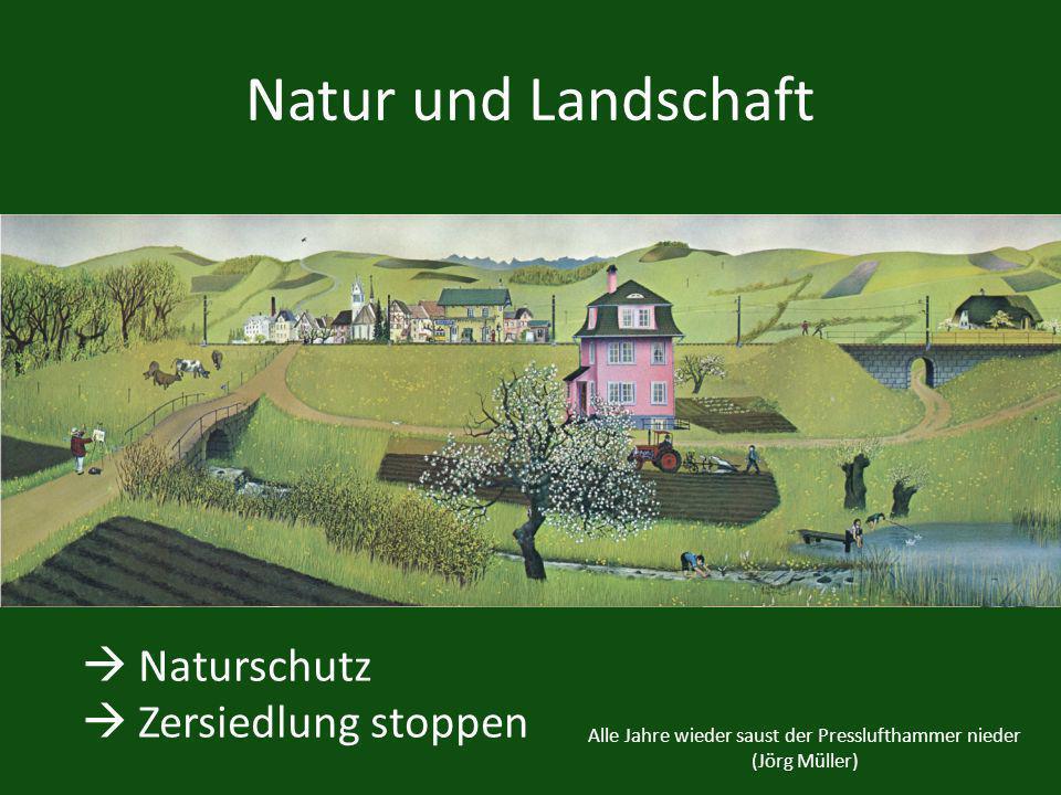 Alle Jahre wieder saust der Presslufthammer nieder (Jörg Müller) Natur und Landschaft Naturschutz Zersiedlung stoppen