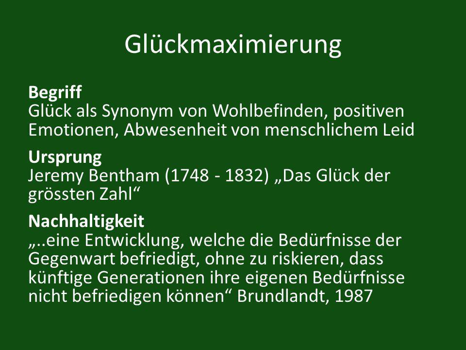 Glückmaximierung Begriff Glück als Synonym von Wohlbefinden, positiven Emotionen, Abwesenheit von menschlichem Leid Ursprung Jeremy Bentham (1748 - 18
