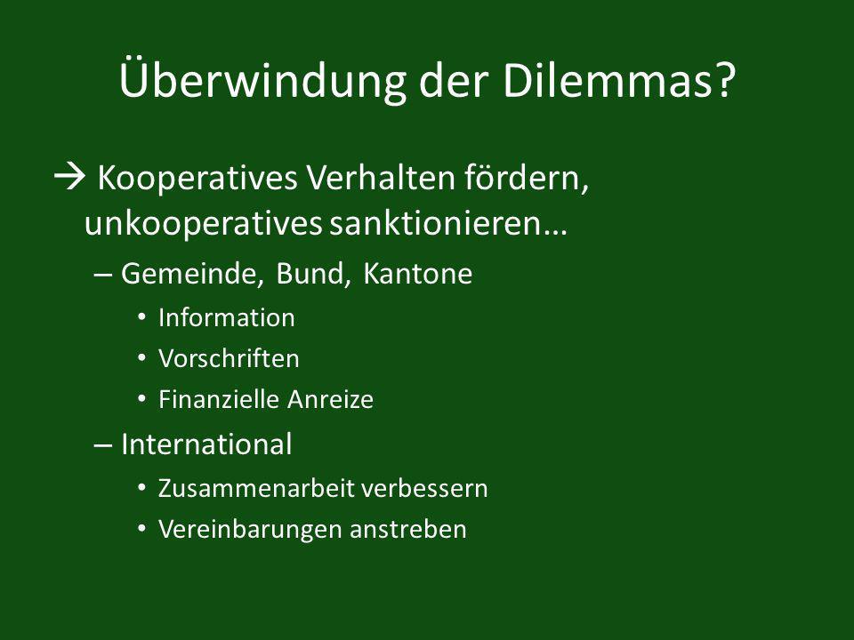 Überwindung der Dilemmas? Kooperatives Verhalten fördern, unkooperatives sanktionieren… – Gemeinde, Bund, Kantone Information Vorschriften Finanzielle