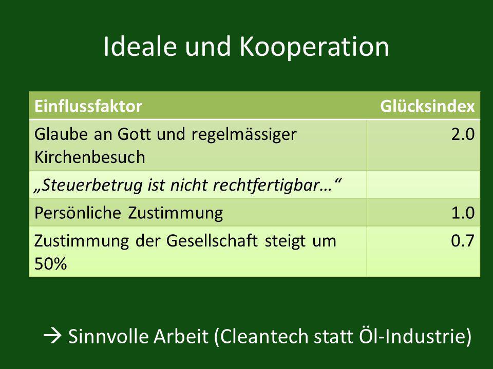 Ideale und Kooperation Sinnvolle Arbeit (Cleantech statt Öl-Industrie)