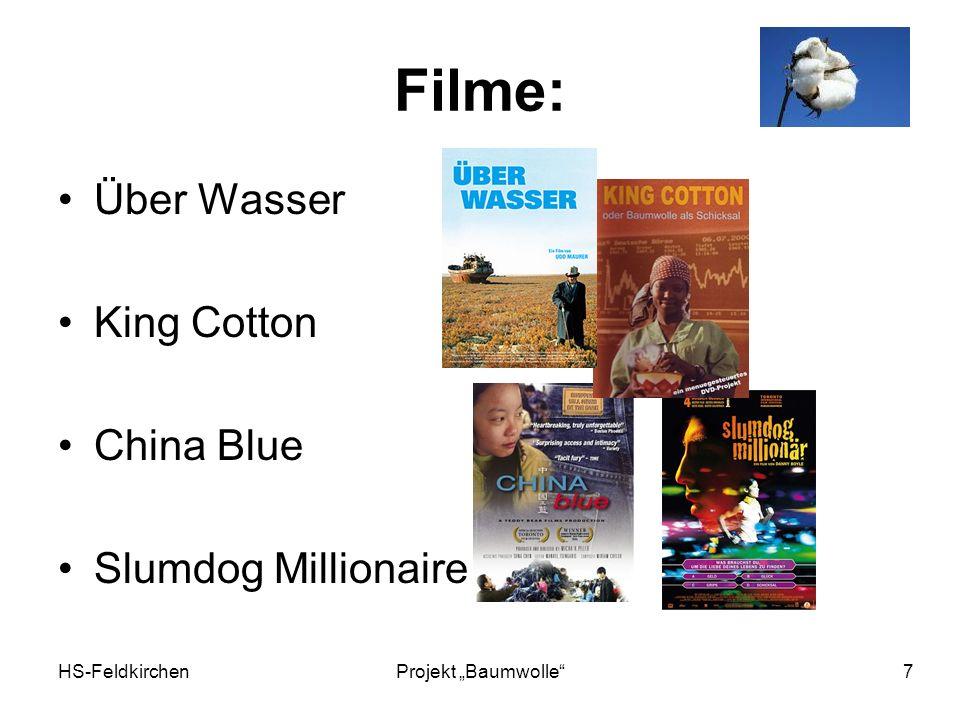 HS-FeldkirchenProjekt Baumwolle 7 Filme: Über Wasser King Cotton China Blue Slumdog Millionaire