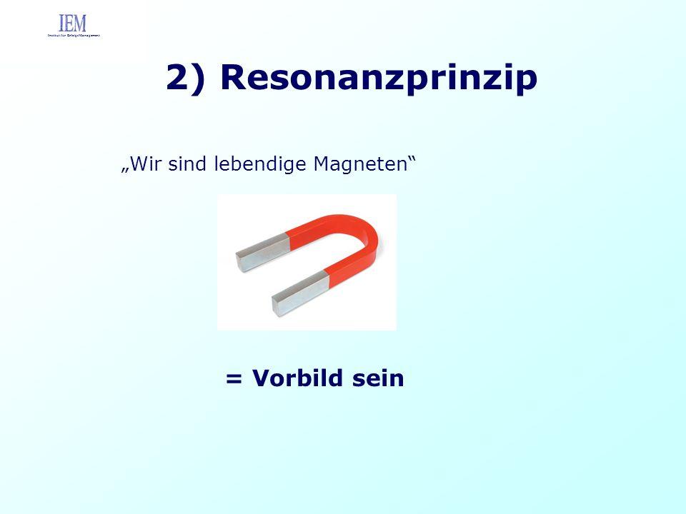 2) Resonanzprinzip Wir sind lebendige Magneten Institut für ErfolgsManagement = Vorbild sein